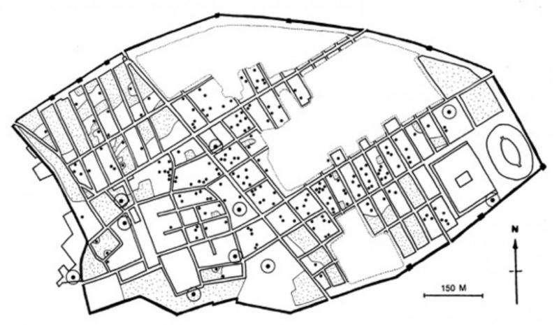 Pompeii'deki halka açık ve özel tuvaletlerin yerlerini gösteren harita
