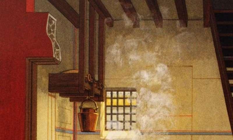 Ressamın, yemek yapılan bölgenin hemen yanındaki tuvalet ile birlikte  tipik Roma mutfağı çalışması