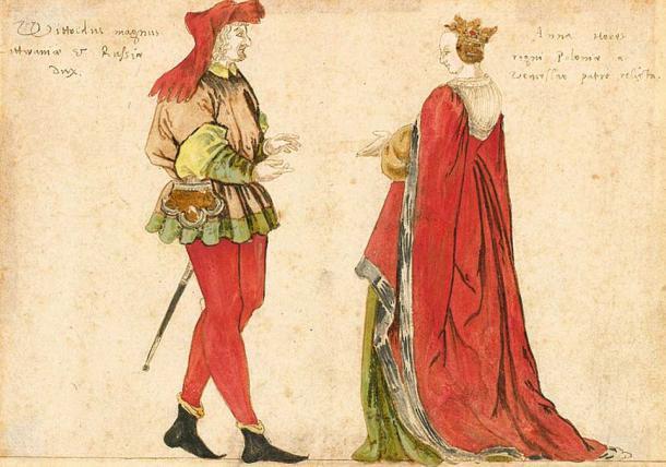 Litvanya Büyük Dükü Muhteşem Vytautas ve Litvanya Büyük Düşesi Anna.