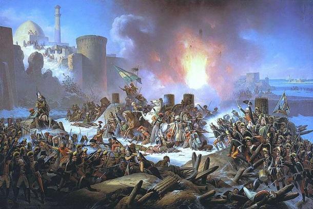 Kamaniçe-Podilskyi Kalesi'nin Osmanlı birlikleri tarafından kuşatılmasının resmedilişi.