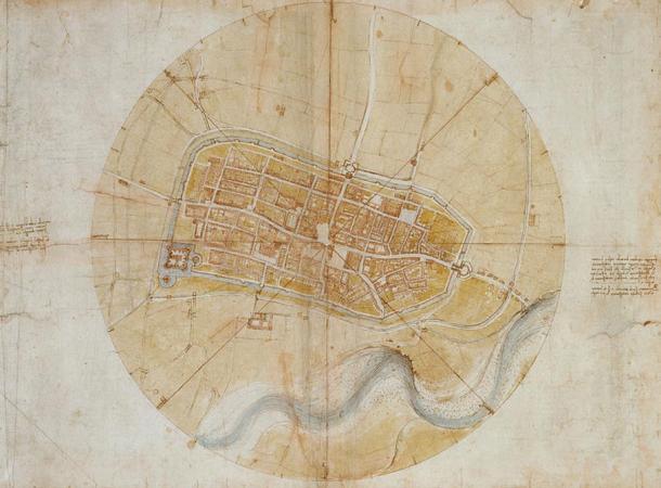 Leonardo da Vinci tarafından Cesare Borgia için Imola'nın Planı (1502