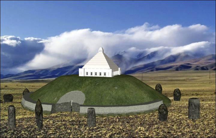 Tekrardan gömülme işlemi onaylanırsa, Ukok Yaylası üzerinde bir anıt inşa edilmesi planlanıyor. Resim: Altay Türklerinin Manevi Merkezi