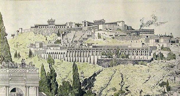 Eski Pergamon'un çizimi. Berlin, Pergamon Müzesi'nin kitapçığından alınmıştır. Resim, Alman bir arkeolog tarafından 19. yüzyılda çizilmiştir.