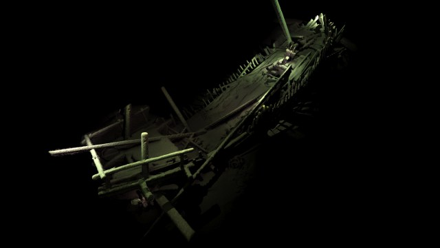 """Bulgaristan'ın Karadeniz bölgesinde türüne ilk kez rastlanan Kolomb öncesi döneme ait batık Akdeniz """"yuvarlak gemi"""". Fotoğraf: Black Sea M.A.P"""