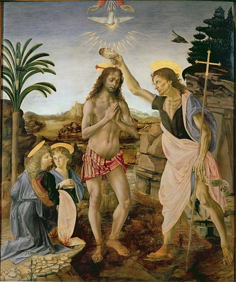 The Baptism of Christ Leonardo da Vinci ve Andrea del Verrocchio tarafından (1475)