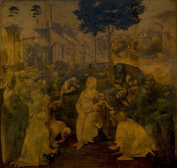 Leonardo da Vinci tarafından the Adoration of the Magi. Uffizi Galerisi