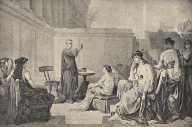 Pisagor'u kadınlara ders verirken resmeden bir illüstrasyon