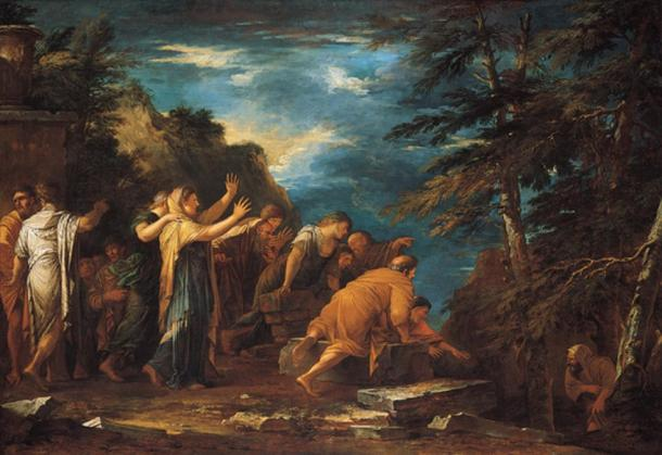 Pisagorun ölüler diyarından görünmesi. (1662) Salvator Rosa.