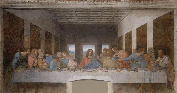 Leonardo da Vinci tarafından Son Akşam Yemeği (1495-1498). Santa Maria delle Grazie, Milan
