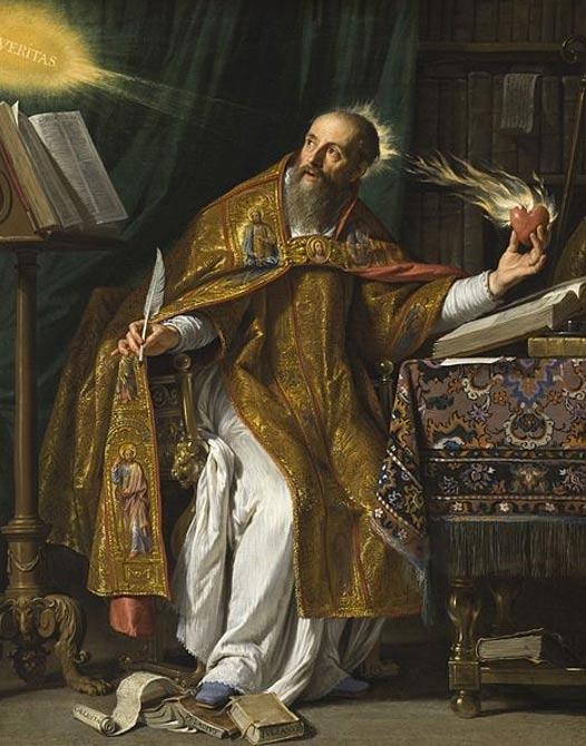 Philippe de Champaigne tarafından Aziz Augustinus. (yaklaşık olarak 1645-1650) Felsefi ve dini görüşleri arasında çatışmalar çıkınca Augustinus inancını seçti.