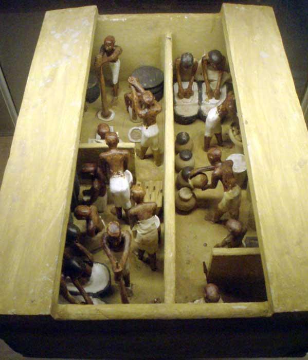 Bir Mısır fırınının ve bira imalathanesinin mezar modeli