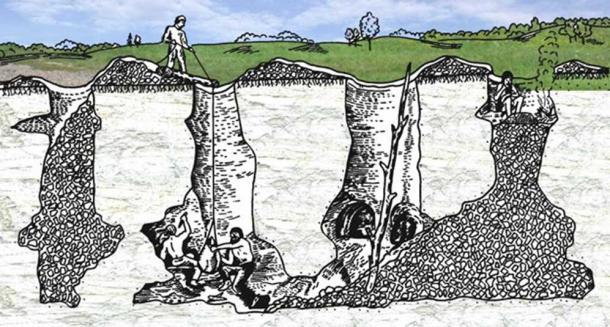 Antik çakmak taşı madenciliği illüstrasyonu