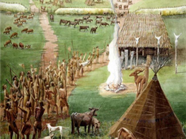 Windmill Hill'de, Stonehenge yakınlarında keşfedilen kompleksin bir benzeri olabilecek geçidin yeniden yapılandırılması Historic England Archive/JudithDobie