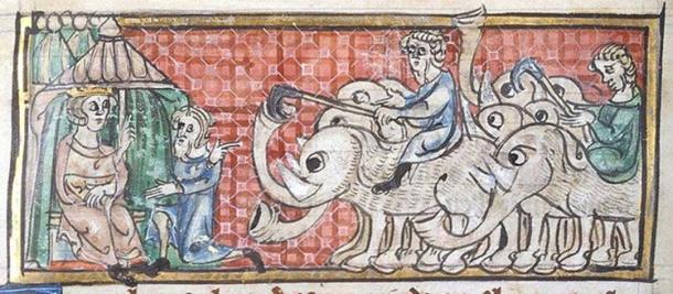 14. yüzyıla ait bir çizim. Büyük İskender fillerle karşılaşıyor.