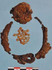 Mezarlıkta bulunan boncuklarla süslenmiş demir tasma