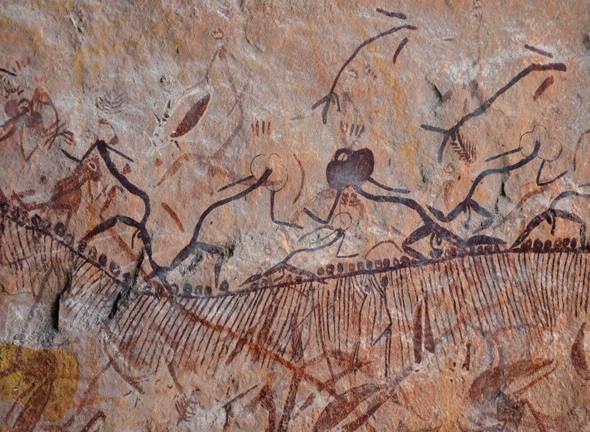 Batı Arnherm Bölgesi'ndeki Aborjin kaya sanatı NRF olarak bilinen tarzı betimler. Fotoğraf:Tristen Jones