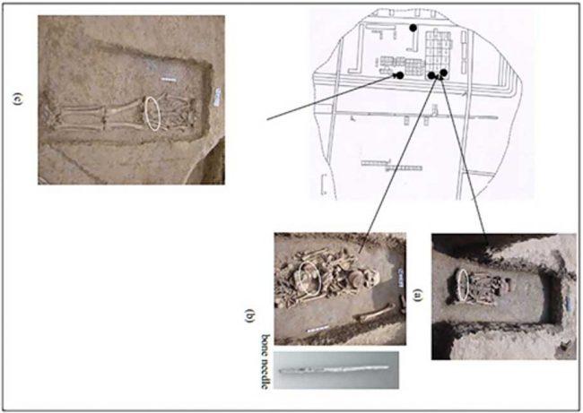 Araştırmacıların ipek proteinleri bulmak için toprak örnekleri aldığı üç mezar