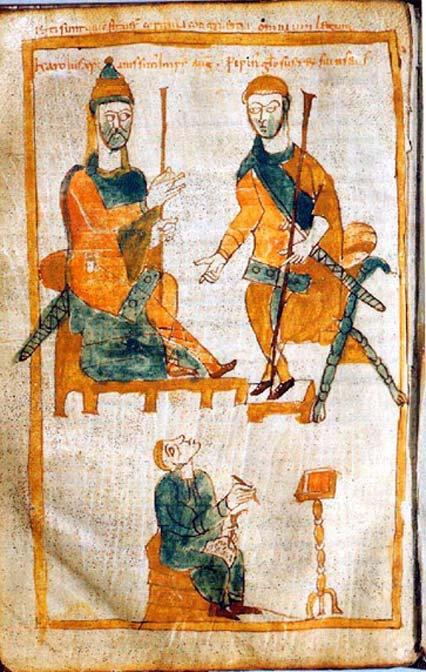 Şarlman (solda) ve onun en büyük oğlu Pepin the Hunchback. Orjinali yaklaşık 830 yılı olan kayıp bir eserin 10.yy kopyası