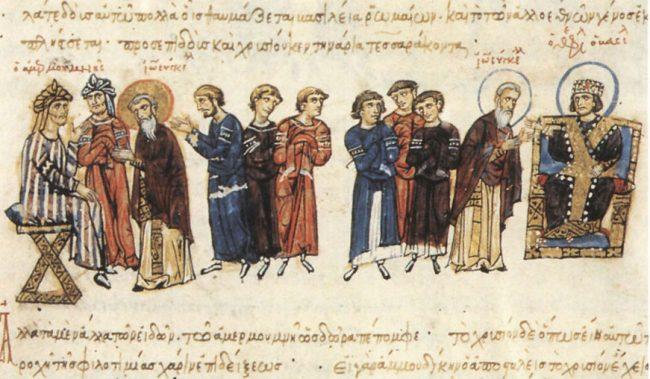 Bizans elçisi John, Theofilos'tan (sağda)Memun'a (solda)