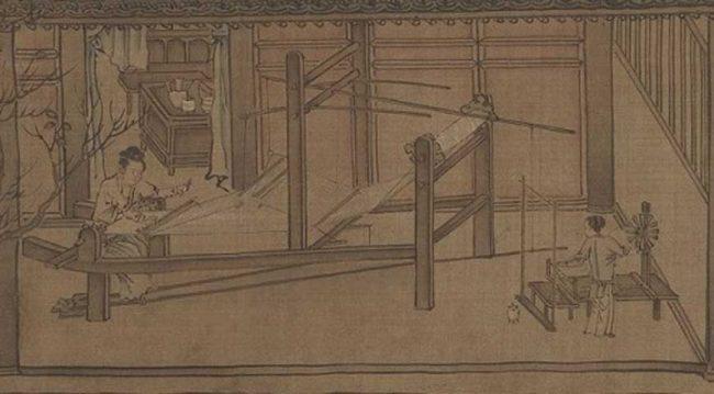 13. yüzyılda ipek dokuyan insanların tasvirleri, Liang Kai.