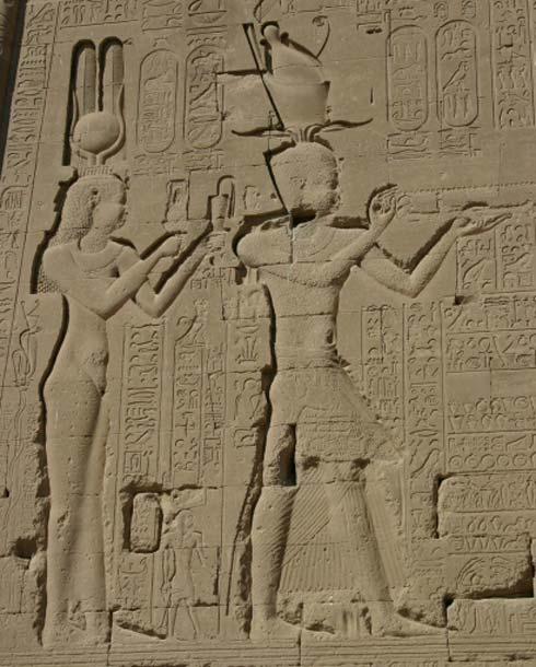 VII.Kleopatra ve Mısır , Dendera Tapınağı'nda  Caesarion'ın bir kabartması