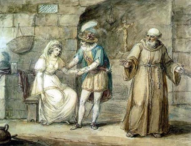 Rahip Romeo ve Juliet'i evlendirir. Tıpkı Luigi da Porta'nın eserindeki Romeo ve Giulietta gibi. (Vikipedi kaynakları)