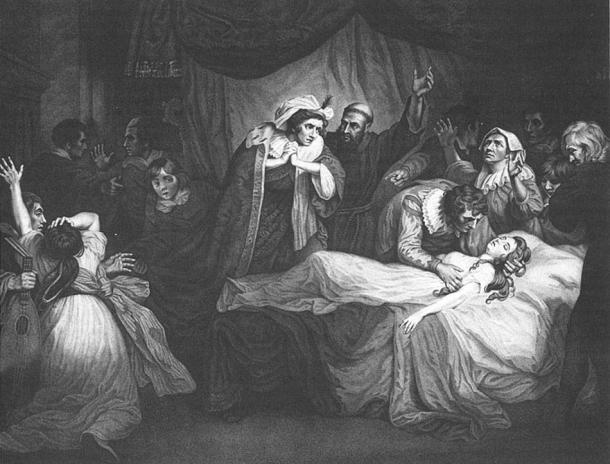 Shakespeare'in Romeo'nun Juliet'i uyurken bulduğu fakat onun öldüğünü sandığı hikâyesindeki gibi Salernitano'nun eski hikâyesi de Mariotto'nun Giannoza'nın uyuyan bedenini bulduğu fakat onun öldüğünü zannettiği bir sahneyi içerir. ( Vikipedi kaynakları)