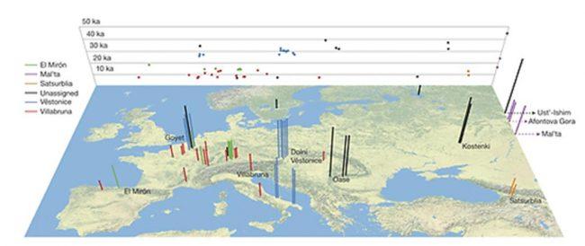 Genleri incelenen 51 eski modern insanın yeri ve yaşı. (Qiaomei Fu et al./Nature)
