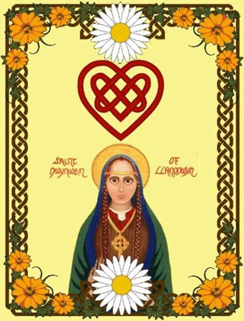 Modern Aziz Dwynwen ikonunun renkli bir resmi