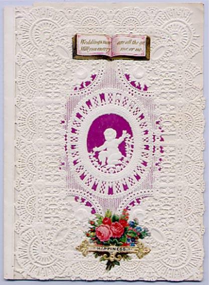 """1850 dolaylarında bir Esther Howland Sevgililer Günü kağıdı: """"Bu aralar evlilikler çok moda, evlenip olalım mı karı koca?"""" (Weddings now are all the go, Will you marry me or no?"""""""